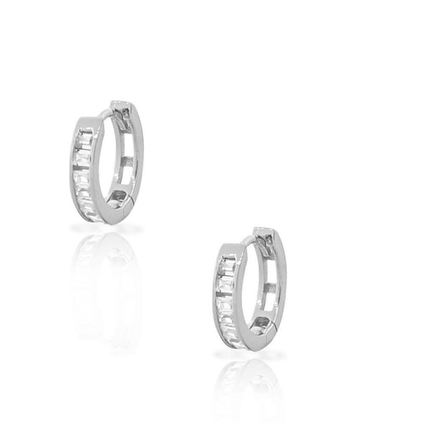925 Sterling Silver Baguette White CZ Small Hoop Huggie Womens Girls Earrings