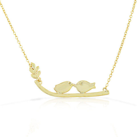 925 Sterling Silver Yellow Gold-Tone Womens Love Kissing Birds Lovebirds Pendant Necklace
