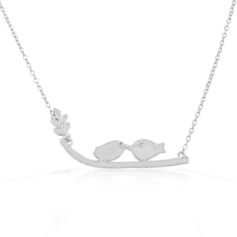 925 Sterling Silver Womens Girls Love Kissing Birds Lovebirds Pendant Necklace