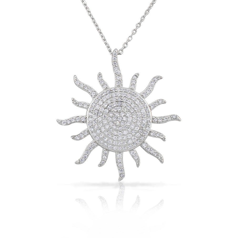 925 Sterling Silver White CZ Womens Statement Sun Pendant Necklace
