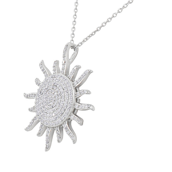Sterling Silver Sun Necklace Pendant 925 Cubic Zirconia