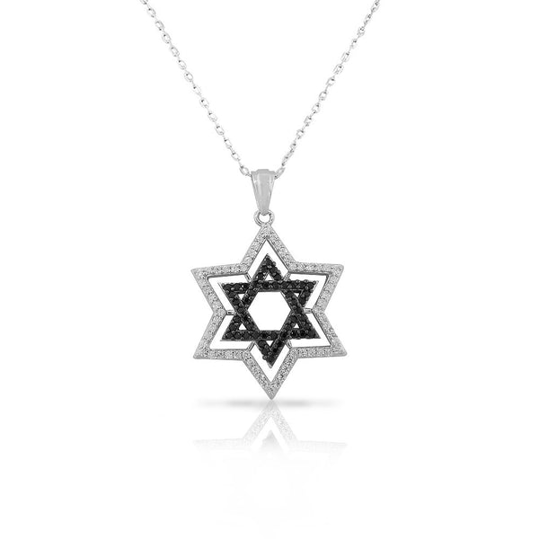925 Sterling Silver Jewish Star of David Black White CZ Pendant Necklace