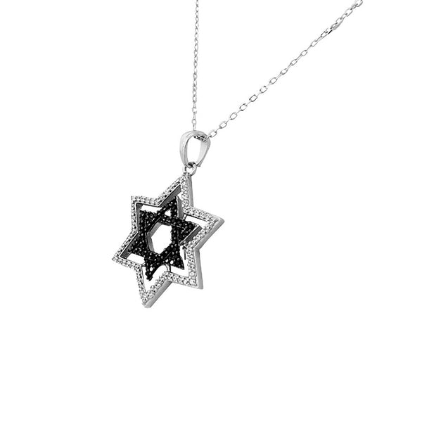 Double Layered Star of David Necklace Pendant Sterling Silver