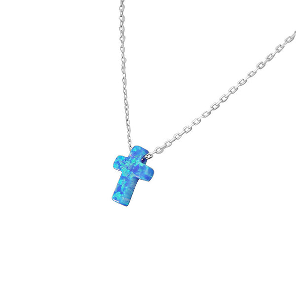 Tiny Opal Cross Pendant with Sterling Silver Necklace
