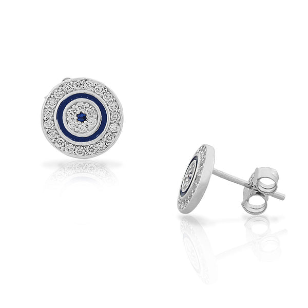 925 Sterling Silver White Blue CZ Evil Eye Hamsa Womens Girls Round Stud Earrings