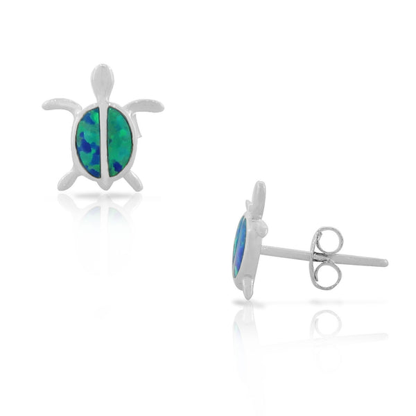 925 Sterling Silver Blue Turquoise-Tone Simulated Opal Small Turtle Womens Girls Stud Earrings