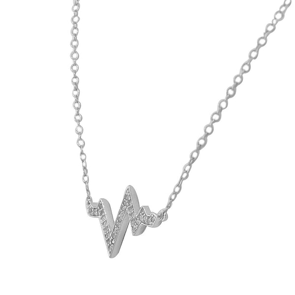 Heartbeat Necklace Pendant Silver Sterling Cubic Zirconia