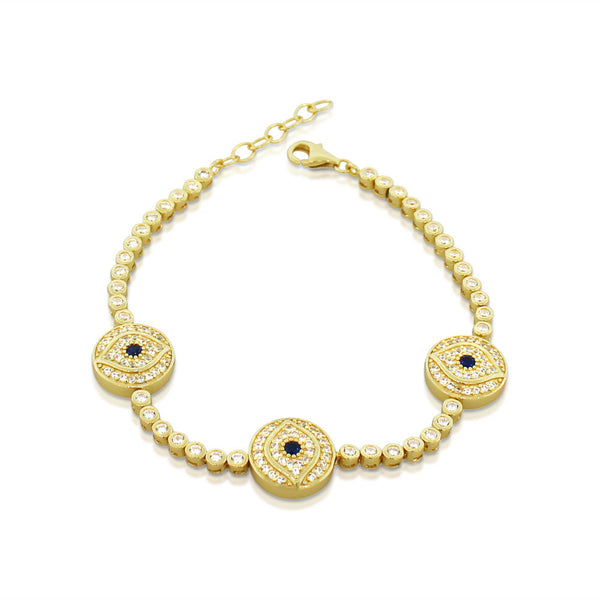 925 Sterling Silver Yellow Gold -Tone White Blue Bezel-Set CZ Evil Eye Womens Bracelet