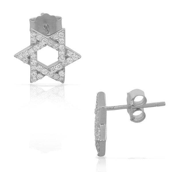 925 Sterling Silver CZ Jewish Star of David Womens Girls Stud Earrings