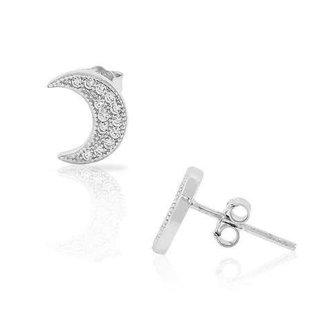 925 Sterling Silver CZ Half-Moon Crescent Womens Girls Small Stud Earrings