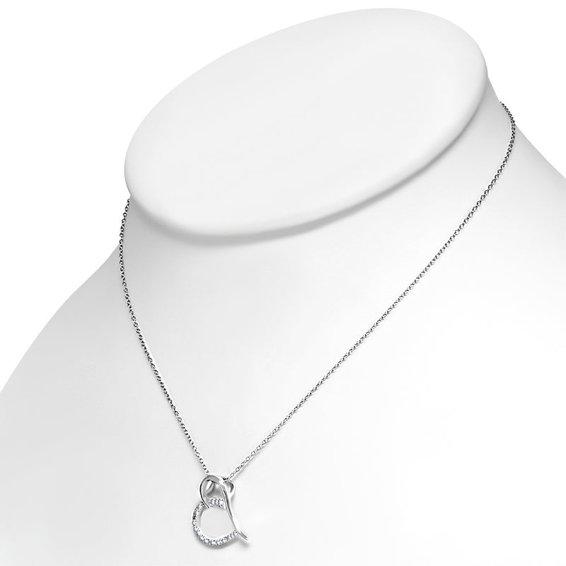 Cubic Zirconia Heart Necklace Pendant Sterling Silver