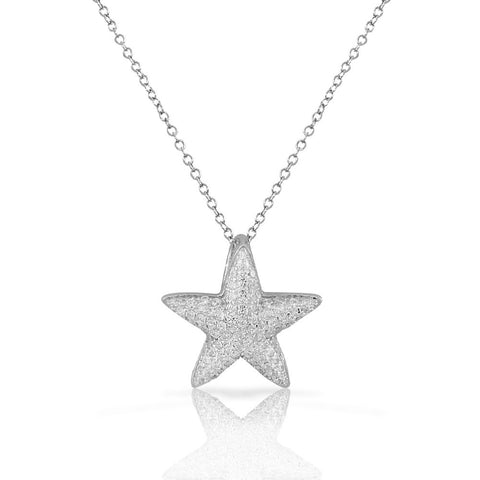 925 Sterling Silver White CZ Womens Starfish Pendant Necklace