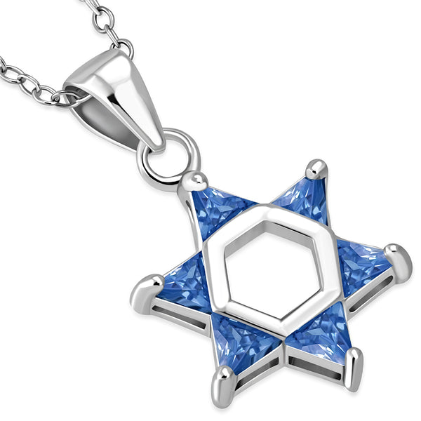 Blue Gemstone Star of David Necklace Pendant Sterling Silver