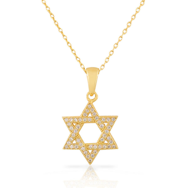 925 Sterling Silver Yellow Gold-Tone Jewish Star of David White CZ Pendant Necklace