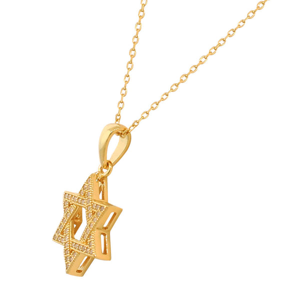 Yellow Gold Tone Star of David Sterling Silver Pendant Necklace