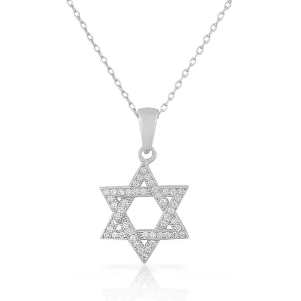 Star of David Cubic Zirconia Necklace Pendant 925 Sterling Silver