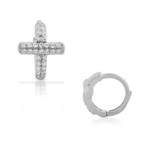 925 Sterling Silver White CZ Religious Cross Hoop Huggie Small Earrings