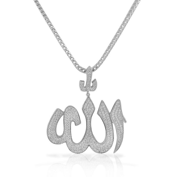 925 Sterling Silver White CZ Large Hip-Hop Religious Muslim Islam God Allah Pendant Necklace