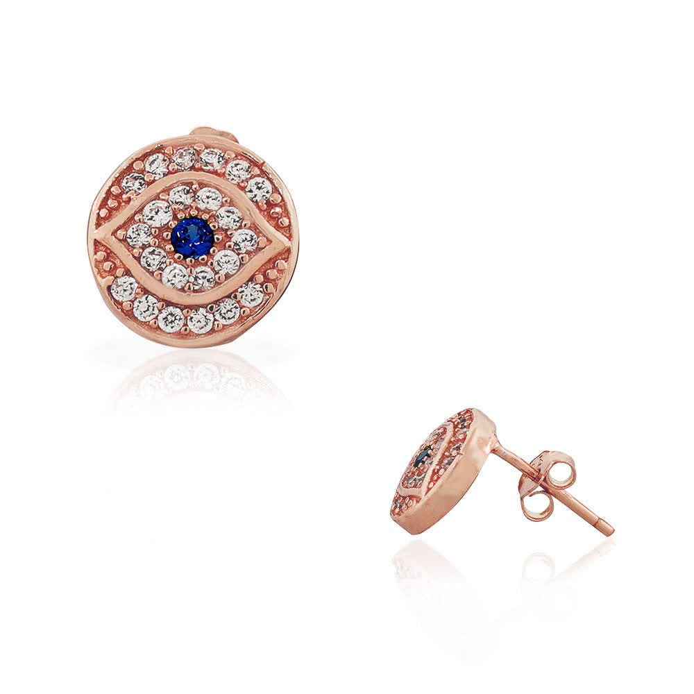 925 Sterling Silver Rose Gold-Tone White Blue CZ Evil Eye Stud Earrings