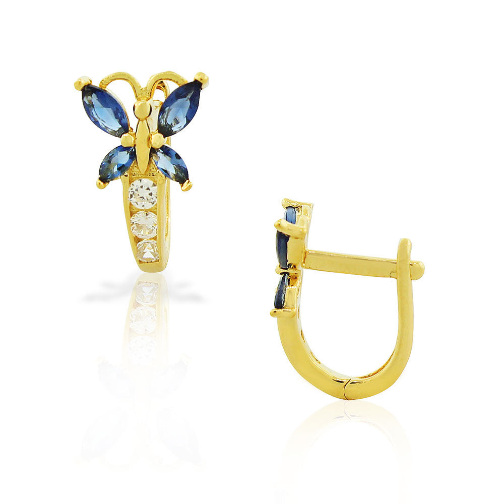 925 Sterling Silver Yellow Gold-Tone White Blue Sapphire-Tone CZ Butterfly Hoop Huggie Small Earrings