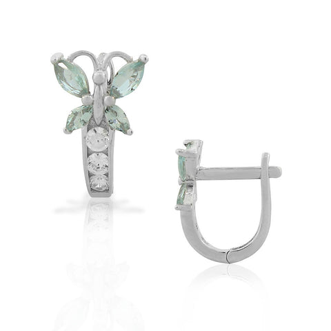 925 Sterling Silver White Blue Aquamarine-Tone CZ Butterfly Hoop Huggie Small Earrings