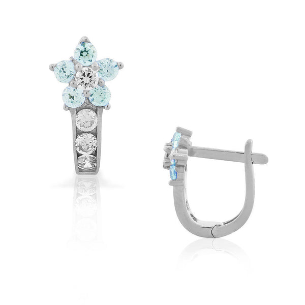 925 Sterling Silver White Blue Aquamarine-Tone CZ Flower Hoop Huggie Small Earrings