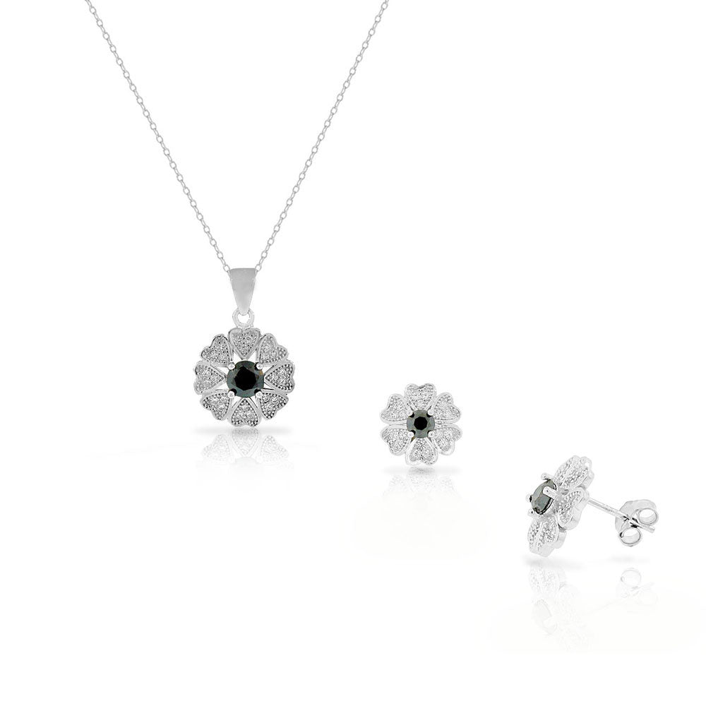 925 Sterling Silver White Black CZ Love Heart Flower Stud Earrings Pendant Necklace Set