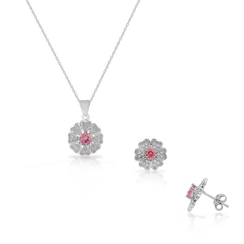 925 Sterling Silver White Pink Red CZ Love Heart Flower Stud Earrings Pendant Necklace Set