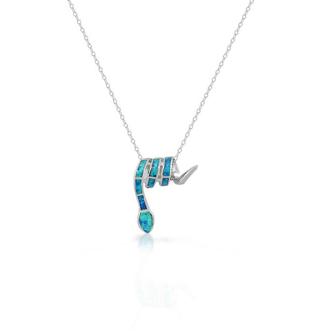 925 Sterling Silver Blue Turquoise-Tone Simulated Opal Snake Pendant Necklace