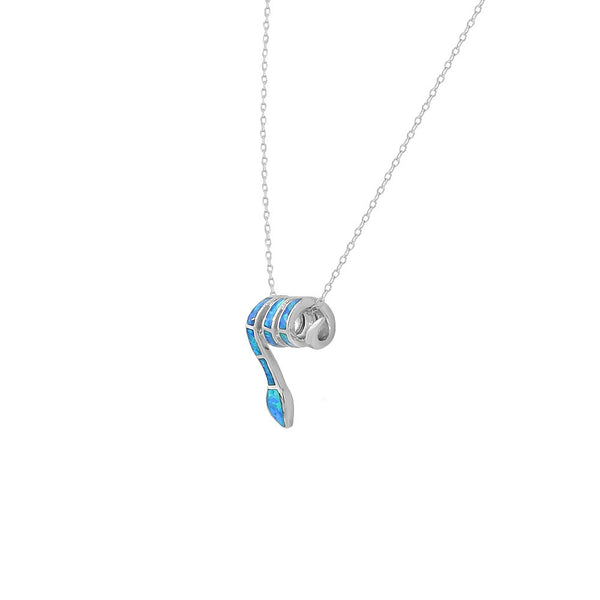 Inlay Opal Snake Necklace Pendant Sterling Silver
