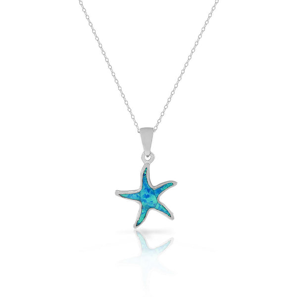 925 Sterling Silver Blue Turquoise-Tone Simulated Opal Starfish Pendant Necklace
