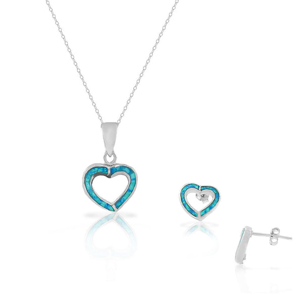 925 Sterling Silver Blue Turquoise-Tone Simulated Opal Love Heart Stud Earrings Pendant Necklace Set