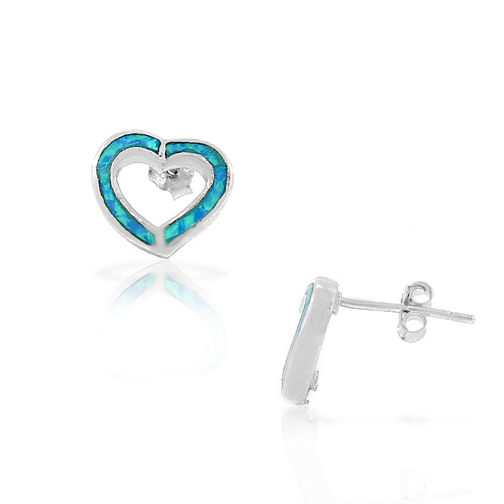 925 Sterling Silver Blue Turquoise-Tone Simulated Opal Open Love Heart Stud Earrings