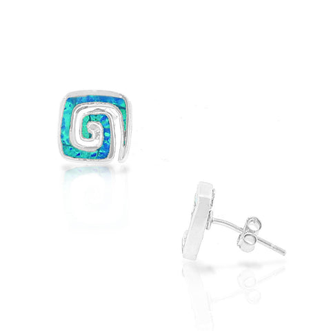 925 Sterling Silver Blue Turquoise-Tone Simulated Opal Whirlpool Stud Earrings