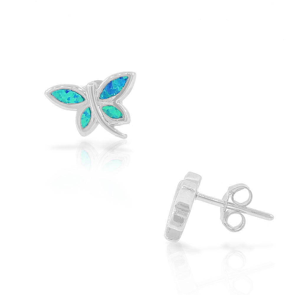 925 Sterling Silver Blue Turquoise-Tone Simulated Opal Dragonfly Stud Earrings