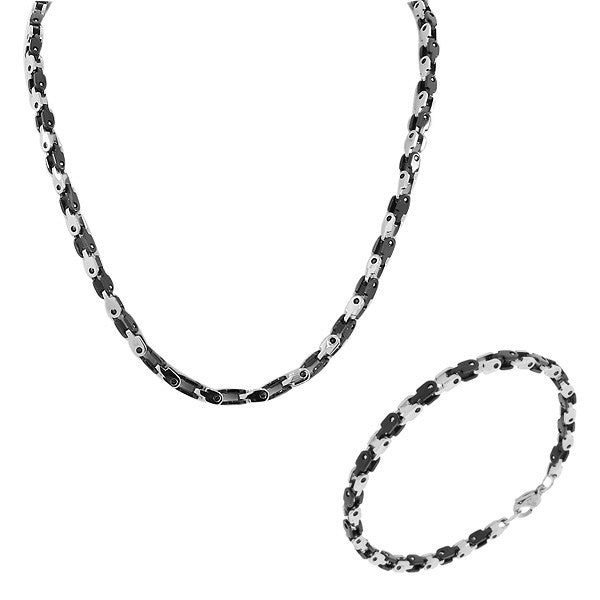 Stainless Steel Silver Black Two-Tone Mens Link Chain Necklace and Bracelet Set