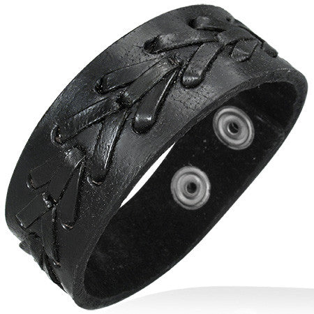 Black Leather Alloy Arrow Snap Wristband Unisex Bracelet