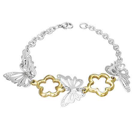 Stainless Steel Two-Tone 3D Butterfly Flower Link Womens Bracelet