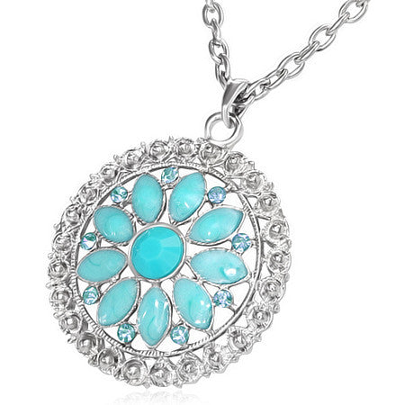 Fashion Alloy Vintage Turquoise-Tone Beads Flower Silver-Tone Chain Necklace