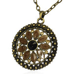 Fashion Alloy Flower Circle of Life Black CZ Charm Necklace