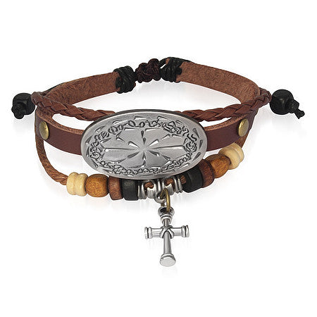 Brown Leather Alloy Beaded Flower Cross Charm Adjustable Unisex Bracelet