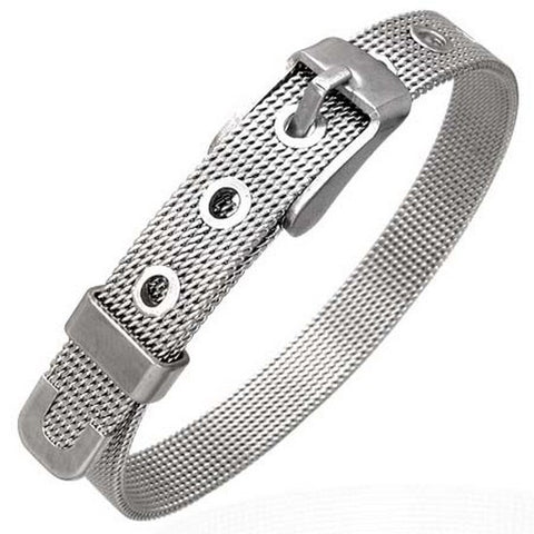 Stainless Steel Silver-Tone Mesh Belt Buckle Adjustable Womens Bracelet