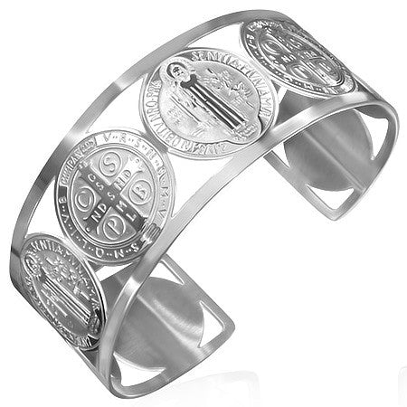 Stainless Steel Cross St. Benedict Religious Christian Open End Cuff Bangle