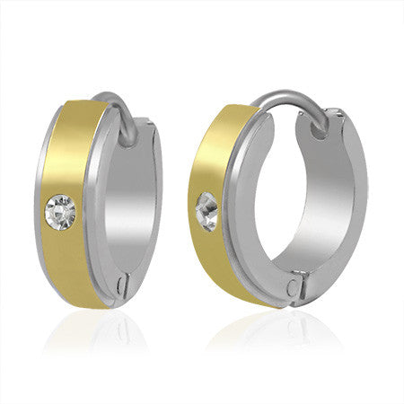 Stainless Steel Two-Tone White Hoop Huggie Earrings