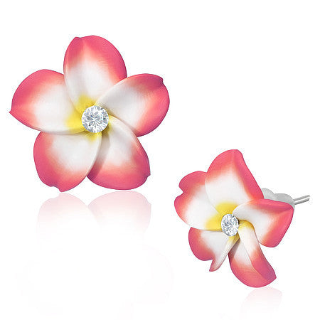 Fashion Alloy Polymer Clay Pink Hawaiian Flowers White CZ Stud Earrings