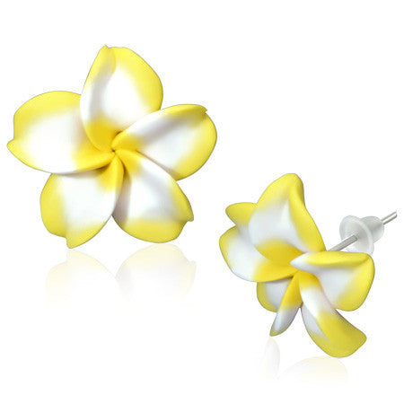 Fashion Alloy Polymer Clay Yellow White Hawaiian Flowers White Stud Earrings