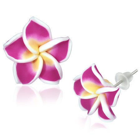 Fashion Alloy Polymer Clay Purple Violet Hawaiian Flowers Stud Earrings