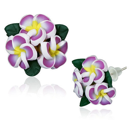 Fashion Alloy Polymer Clay Three Purple Violet Hawaiian Flowers Stud Earrings