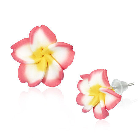 Fashion Alloy Polymer Clay Pink White Hawaiian Flowers Stud Earrings