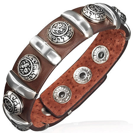 Brown Leather Stainless Steel Silver-Tone Rose Floral Links Snap Wristband Mens Bracelet